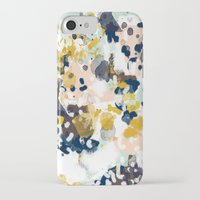 beach iPhone & iPod Cases featuring Sloane - Abstract painting in modern fresh colors navy, mint, blush, cream, white, and gold by CharlotteWinter