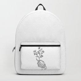 Skeleton Hand Holding Wildflowers Design Backpack