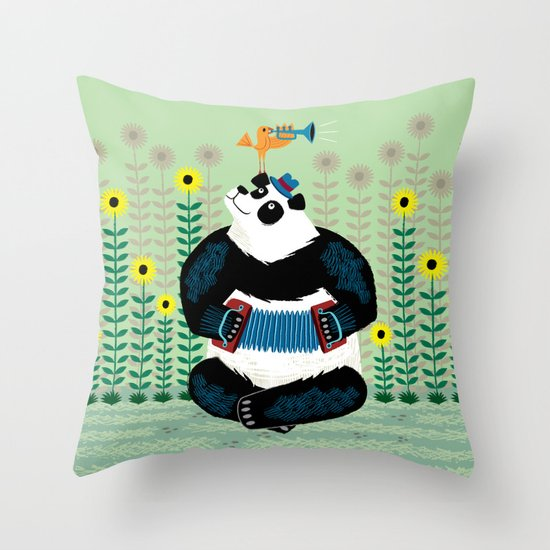 Panda Piazzolla and The Trumpet Bird Throw Pillow