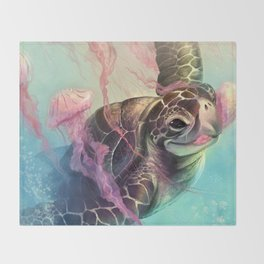 Sea Turtle and Jellyfish! Throw Blanket