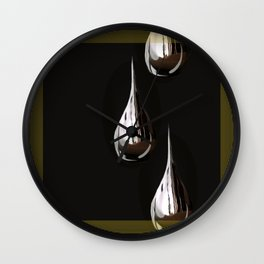 Silver Painting Drops On A Black Background in Golden Frames #decor #society6 Wall Clock
