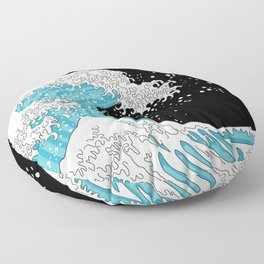 The Great Wave (night version) Floor Pillow