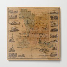 Map Of Brookfield 1855 Metal Print