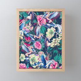 Unicorn and Floral Pattern Framed Mini Art Print