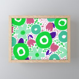 Bold Abstract Floral Inspired Pattern (Lime Green, Aqua, Rose Pink, Purple) Framed Mini Art Print
