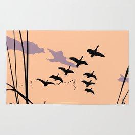 Ducks At Sunset Pop Art Landscape Rug