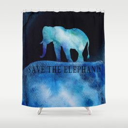 Save The Elephants Watercolor Painting Shower Curtain