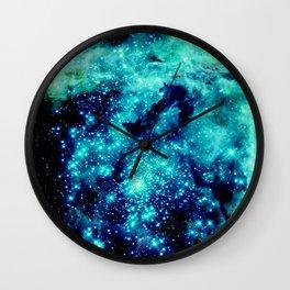 GALAXY. Teal Aqua Stars Wall Clock