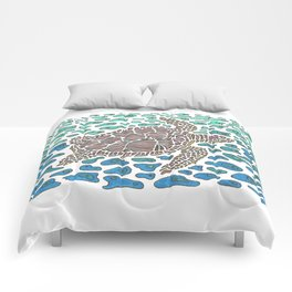 Vanishing Sea Turtle by Black Dwarf Designs Comforters