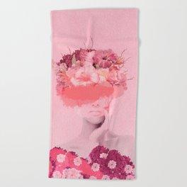 Woman in flowers Beach Towel