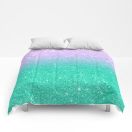 Mermaid purple teal aqua FAUX glitter ombre gradient Comforters