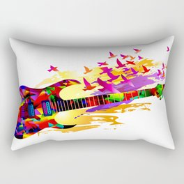 Colorful music instruments painting, abstract acoustic guitar with flying birds. Pop-art, digital. Rectangular Pillow
