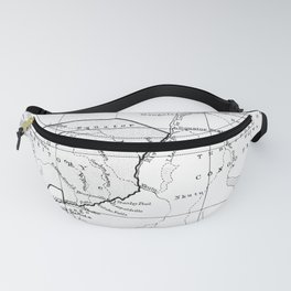 Black And White Vintage Map Of Africa Fanny Pack