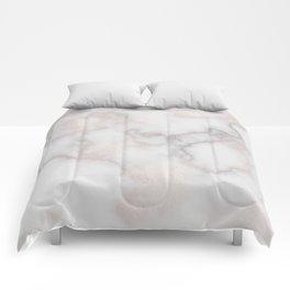 Elegant blush tones pink rose gold white marble Comforters