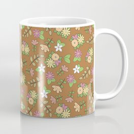 Retro Bohemian Flower Pattern on Brown Coffee Mug