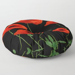BLACK ART DECO RED POPPIES DESIGN Floor Pillow