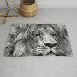 Lion Black and White  Mixed Media Digital Art Rug