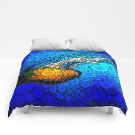 Ocean jellyfish photo bubble art | Go with the flow Comforters