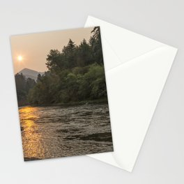 Fire Sunrise on McKenzie River Stationery Cards