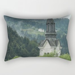 Church Steeple in the Fog Rectangular Pillow