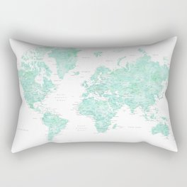 """Light mint watercolor world map, detailed, """"Desie"""" Rectangular Pillow"""