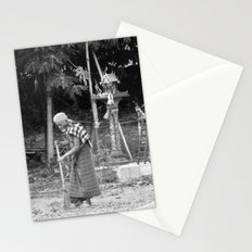 Sweeping near the Spirit Houses Stationery Cards