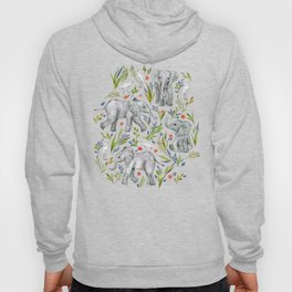 Baby Elephants and Egrets in Watercolor - navy blue Hoody