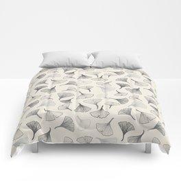 Ginko leaves grey Comforters