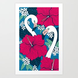 Flamingos and tropical flowers and leaves Art Print