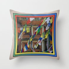 BOUDHANATH HOUSES AND FLAGS KATHMANDU NEPAL Throw Pillow