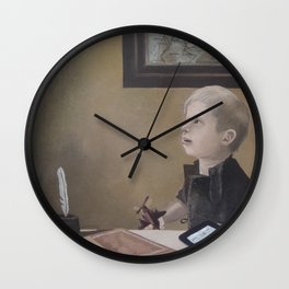 Boy With A Red Airplane  Wall Clock