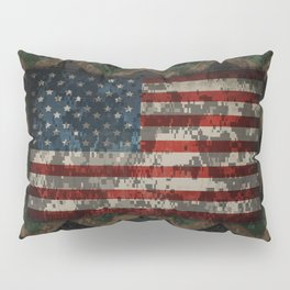 Green and Brown Military Digital Camo Pattern with American Flag Pillow Sham