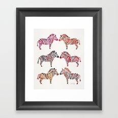 Zebras – Rainbow Palette Framed Art Print