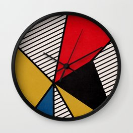 Primary Colors and Stripes Wall Clock