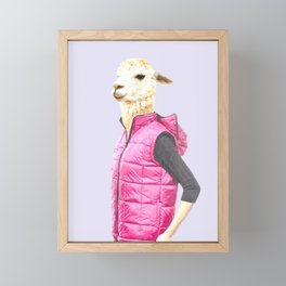 Fashionable Llama Framed Mini Art Print