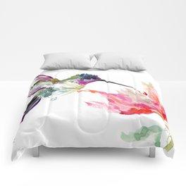 Little Hummingbird and Pink Flower, Bird art, minimalist bird painting, soft pink olive green design Comforters