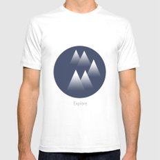 Explore/Mountains Mens Fitted Tee White MEDIUM