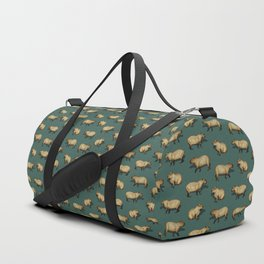 Cute Capybara Pattern - Giant Rodents on Dark Teal Duffle Bag
