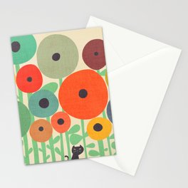 Cat in flower garden Stationery Cards