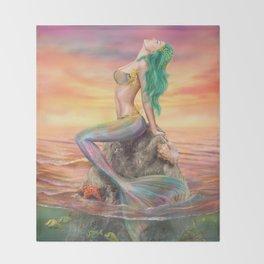 fantasy mermaid at amazing sunset Throw Blanket