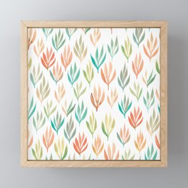 Watercolour Ferns | Green, Orange, Coral, Mint Framed Mini Art Print