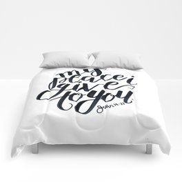 john bible verse calligraphy lettering black and white jesus christian peace Comforters