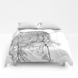 San Francisco Map White Comforters