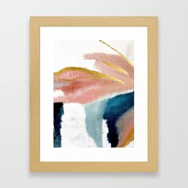 Exhale: a pretty, minimal, acrylic piece in pinks, blues, and gold Gerahmter Kunstdruck