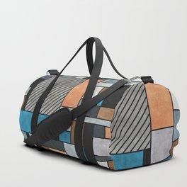 Random Concrete Pattern - Blue, Grey, Brown Duffle Bag