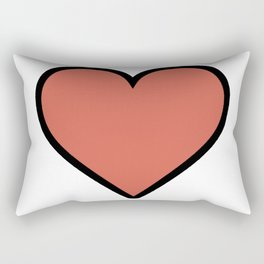 Bold Living Coral Heart Shape Digital Illustration, Minimal Art Rectangular Pillow