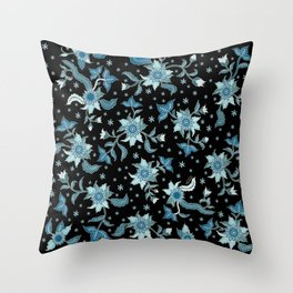 Turquoise flowers on Black Throw Pillow