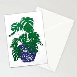 Chinoiserie Ginger Jar and Monstera Plant | Chinese Ginger Jar | Blue and White Ginger Jar | Blue and White Pottery | Stationery Cards