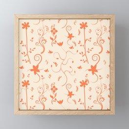 Living Coral Delicate Floral Pattern Framed Mini Art Print