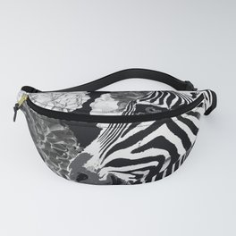 ZEBRA AND CABBAGE ROSES BLACK AND WHITE Fanny Pack